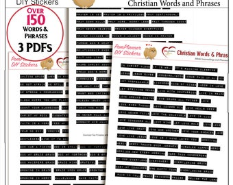 SALE: Printable Christian Words and Phrases Impact Labels Looks just like they came from Handheld Embossing Label Maker