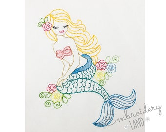 Beautiful Mermaid Colorwork Sketch Machine Embroidery Design 4 sizes DE052