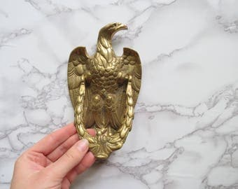 Brass Eagle Door Knocker // Vintage Gold Metal Hardware Restoration Piece Americana Rustic Home Decor Curb Appeal Front Door Decoration