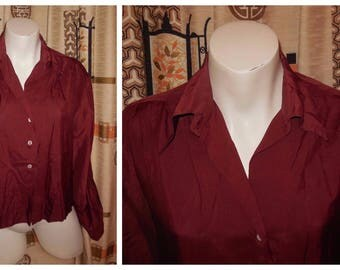 Vintage 1930s Blouse Maroon Silk Art Deco Blouse Long Sleeves Pointed Collar MOP Buttons Red Silk Blouse M chest to 38 inches