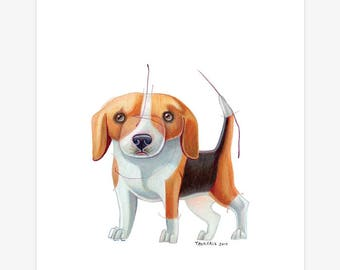 Beagle Dog Art A5 Print