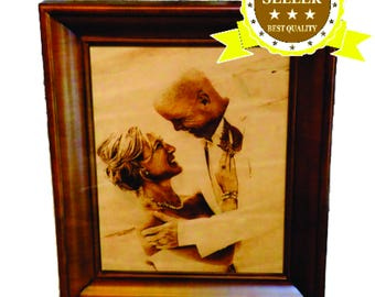 Third Anniversary Leather Gift for Him or Her – Leather Photo Engraved with Any Photo You Wish 4x6 or 5x7