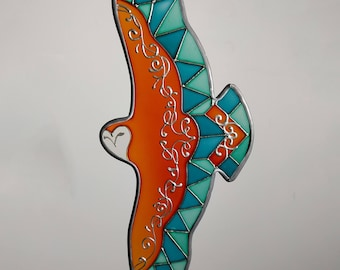 Owl stained glass