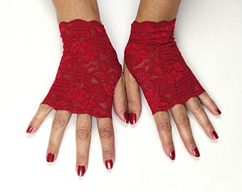 Red Fingerless Gloves - Red Lace Gloves - Red Stretch Lace Gloves - Red Evening Gloves - Red Gloves - Red Lace Fingerless Gloves