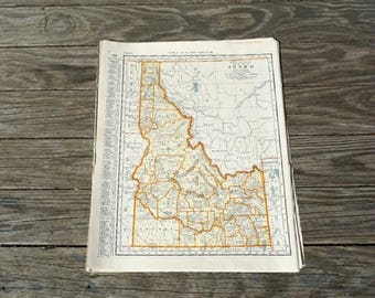 Old Map Of Idaho Etsy - Map of idaho