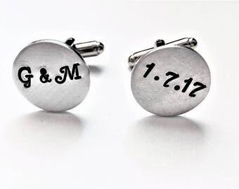 Personalized cufflinks, wedding cufflinks, custom cufflinks, wedding date, Groom gift from Bride, initials cuff links, wedding gift for him