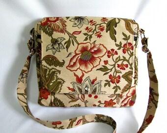 Large messenger bag- Beige, burnt orange, olive green and tan floral canvas