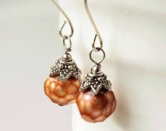 Golden Pearl Earrings, sterling silver, genuine pearls, boho dangle earrings, June birthstone, holiday gift for her, 1634
