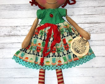 Christmas Nutcracker Annie - Primitive Raggedy Ann Doll