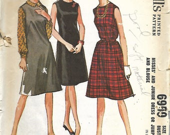 "1960's McCall's 6959 ""Quickie"" Sew Pattern, Misses Dress Or Jumper And Blouse, Size 12, Bust 32"