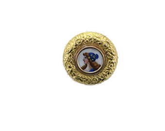Victorian Yellow Gold Enamel Repusse Pin, Antique Pin, Victorian Brooch, Enamel Pin, Pin, Brooch, Yellow Gold Pin, Round Pin, Painted Pin