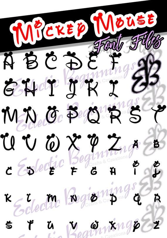 Font TTF OTF Files Disney Mickey Mouse Ears Letters Alphabet