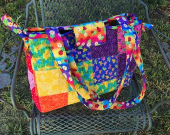 Large Quilted Rainbow Tote Bag or Diaper Bag or Overnight Bag or Project Bag - Made to Order