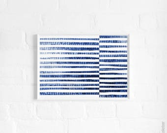 Shibori Stripes A3 Art Print, Abstract Blue Ocean Poster, Abstract Blue Sea, Large Print, Wall Decor