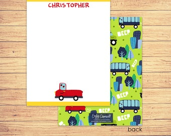 Car Stationery - Kids Stationery - Truck Note Card - Personalized Car Stationery - Thank You Card - Boys Stationery
