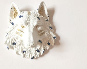 FunFetti WhiTE NAvY GoLd Small Faux Taxidermy WOLF Head Wall Mount Faux animal Head White wolf woodland decor modern nursery Office decor