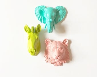 Set of 3, Small Faux Taxidermy Animal Head Wall Mounts, Zebra in Lime Green, Elephant in Aqua, and Tiger in Pastel Apricot, Mini Animal Head