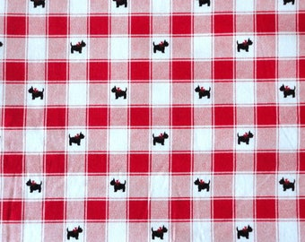 By The 1 Yard SCOTTIE DOG Fabric Black Scotty Red White Plaid Check Gingham  Tablecloth Checkered