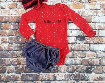 Baby Girl Coming Home Outfit, HELLO WORLD Bodysuit, Diaper Cover, Red Buffalo Plaid head wrap, Baby Shower Gift, New baby, Christmas baby