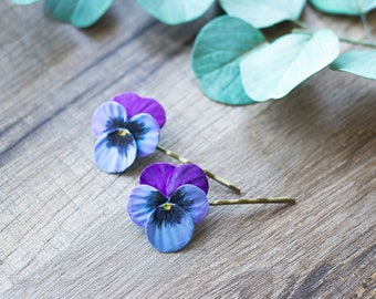 Pansy hair clips - woodland headpiece - floral hair clips - garden flowers - blue flowers - floral head piece - flower hair clips