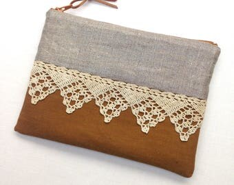 Metallic Hand Made Lace Small Clutch Bag