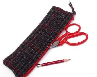 Harris Tweed Pencil Case Vintage Red Green