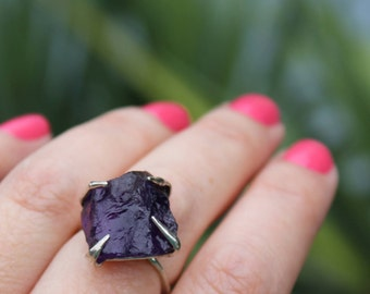 amethyst ring, raw amethyst, sterling silver, silver ring, hand carved ring, recycled silver, size 7 1/2, statement ring, rough amethyst