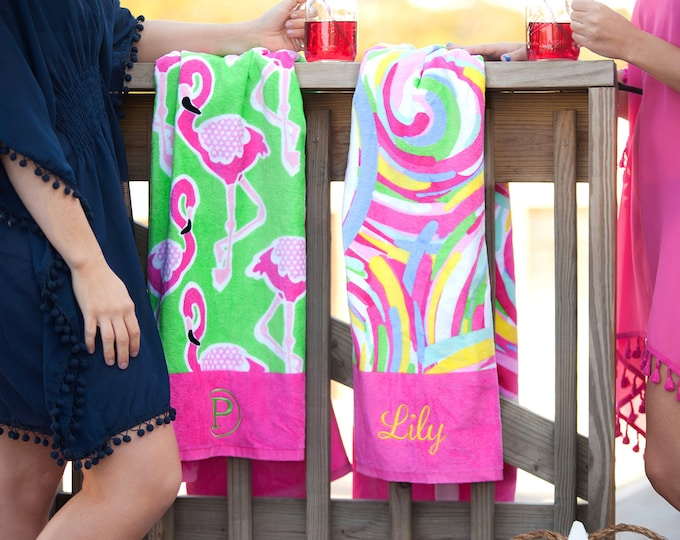 Monogrammed Beach Towel, Personalized Beach Towels, Monogrammed gifts, Bridesmaid gift, Spring Break, Cruise, Bachelorette Party, Beach Trip