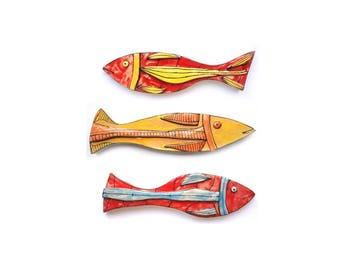 Colorful ceramic fish, Funky Art Fish, Set of 3, Ceramic Fish, Wall Art Fish, Crazy art fish, Colorful ceramic, Pottery fish, Wall art fish
