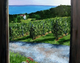 """WILLOW VINEYARDS MICHIGAN, Large Landscape Oil Painting 30"""" x 40"""""""