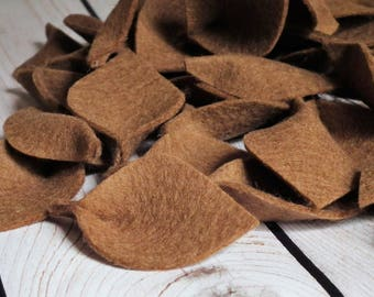 Wool felt leaves for petal toss, flower girl leaves, autumn wedding, Thanksgiving, 100% merino wool felt in ACORN (brown), ready to ship