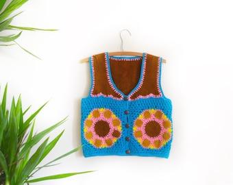 1970s granny square, granny square vest, retro 70s suede vest, 70s crochet vest, flower power, knit sweater, 1960s festival boho hippie vest