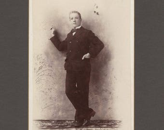Oddly Posed Cabinet Card of a Dapper Young Man