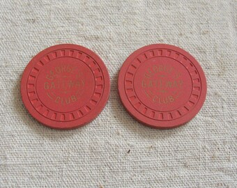 Pair of 1950's Georges Gateway Casino Poker Chips, Retired from Casino