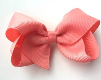4 inch light coral hair bow - light coral hair bow, coral bow, boutique bows, 4 inch bows, girls hair bows, toddler bows, girls bows