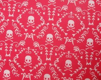 Punk Rock Damask, Skulls, Skull & Crossbones, Pink and White - 100% Cotton, By the Half Yard