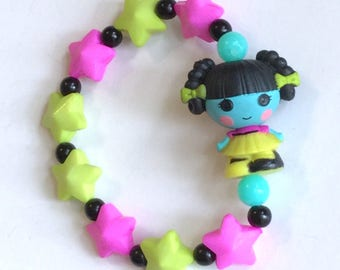 Scraps Stitched N Sewn - Lalaloopsy Frankenstein Girl Doll Stretch Bracelet with Black Glass Beads and Neon Green and Fuchsia Stars