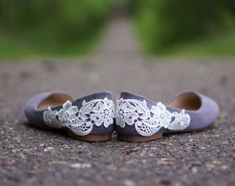 Grey Wedding Shoes, Wedding Flats, Grey Flats, Bridal Flats, Bridal Shoes, Bridesmaid Shoes, Ballet Flats,Low Wedding Shoes with Ivory Lace