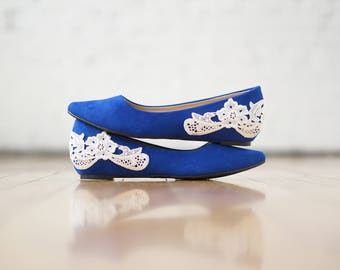 Blue Wedges,Low Wedge,Low Wedding Shoes,Wedding Heels,Bridal Shoes,Bridal Heels,Flats,Bridesmaid Gift/Shoes,Low Blue Heels with Ivory Lace