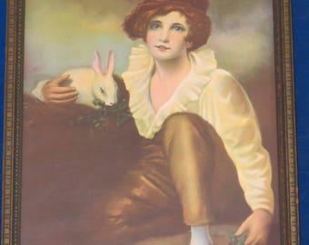 Vintage Boy and Rabbit framed picture
