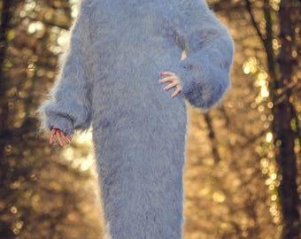 Bespoke grey warm winter fuzzy mohair dress by SuperTanya