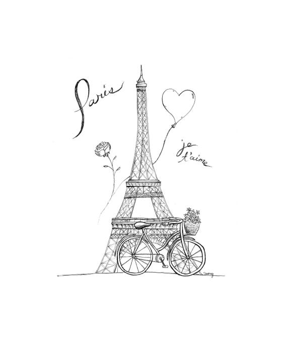 Paris Eiffel Tower Illustration - 5x7, Original Illustration, Paris Je T'aime, Framed Art, Black Ink Line Drawing, I love you in French