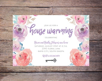 Printable Floral House Warming Invitations Flower, New Home, Party, Print at Home New Home Invite – Haven