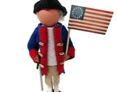 Handmade Christmas Ornament - Patriotic Soldier, Clothespin Ornament, Independence Day, Peg Doll, Revolutionary Soldier, Ornament Exchange