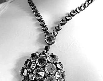 Kramer New York Crystal Pendant Necklace, Black Japanned Metal, Dome Reverse Set Glass Stones, Prongset Crystals,