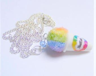 SALE Food Jewelry Ice Cone Necklace, Rainbow Necklace, Miniature Food,  Polymer clay food, Ice Cone Charm, Mini Food Jewellery Gay Pride
