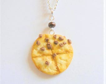 None Pizza with Left Beef Necklace, Pizza Necklace, Miniature Food Jewelry, Mini Food Pendant, Pizza Jewelry, Pizza Pendant, Food Necklace