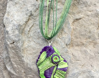 Abstract Jewelry, Polymer Clay Pendant, Green Pendant, Purple Pendant, Swarovski Crystal Necklace, Avant Garde Jewelry, Dimensional Jewelry