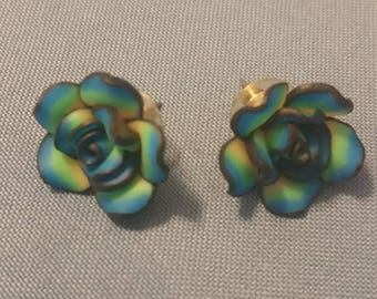 Blue Green Flower Post Earrings