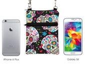 Travel Sling Bag, iPhone 8 Plus Shoulder Bag, Zipper Phone Purse with Strap, Crossbody Passport Purse - Dia de los Muertos Sugar Skulls